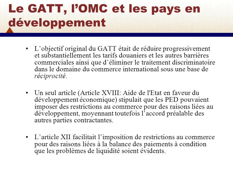 Le GATT, lOMC et les pays en développement (2) 1955: La révision du GATT en 1955 modifie larticle XVIII en introduisant une reconnaissance plus explicite des exceptions que les pays en développement pouvaient utiliser dans le cadre du GATT.