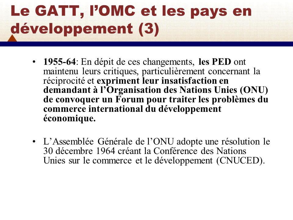 Le GATT, lOMC et les pays en développement (4) 1965: Durant le Cycle de Kennedy (1964-67), les parties contractantes du GATT adoptèrent un amendement au GATT en 1965 pour y ajouter la Partie IV qui entra en vigueur en 1966.