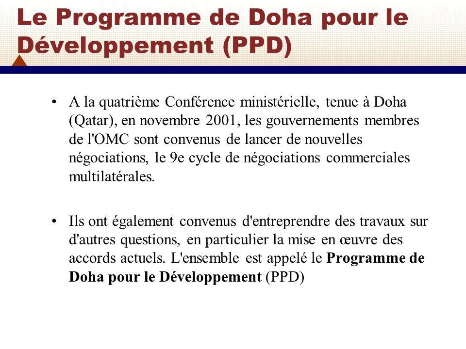 Le Programme de Doha pour le Développement (PPD) Les négociations se déroulent dans le cadre du Comité des négociations commerciales et de ses organes subsidiaires.