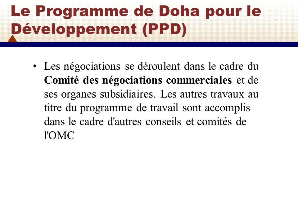 PPD: Les principaux sujets de discussions Les principaux sujets de discussions sont: 1) Négociations sur l agriculture Établir les modalités Achever les disciplines concernant les crédits à l exportation, les garanties de crédit à l exportation ou les programmes d assurance, les entreprises commerciales d État exportatrices et l aide alimentaire dans le cadre des modalités Date (2013) pour l élimination de toutes les formes de subventions à l exportation, ainsi que la progressivité et le parallélisme convenus, qui ne sera confirmée qu au moment de l achèvement des modalités.
