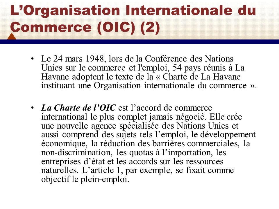 LOrganisation Internationale du Commerce (OIC) (3) Bien que 54 pays aient signé la Charte de lOIC à La Havane, seul le Liberia ratifie lAccord.