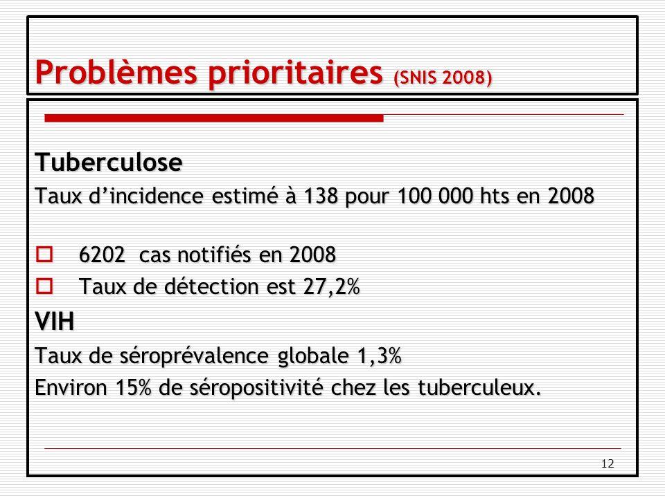 12 Problèmes prioritaires (SNIS 2008) Tuberculose Taux dincidence estimé à 138 pour 100 000 hts en 2008 6202 cas notifiés en 2008 6202 cas notifiés en 2008 Taux de détection est 27,2% Taux de détection est 27,2%VIH Taux de séroprévalence globale 1,3% Environ 15% de séropositivité chez les tuberculeux.