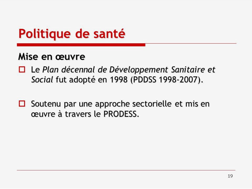 19 Politique de santé Mise en œuvre Le Plan décennal de Développement Sanitaire et Social fut adopté en 1998 (PDDSS 1998-2007).