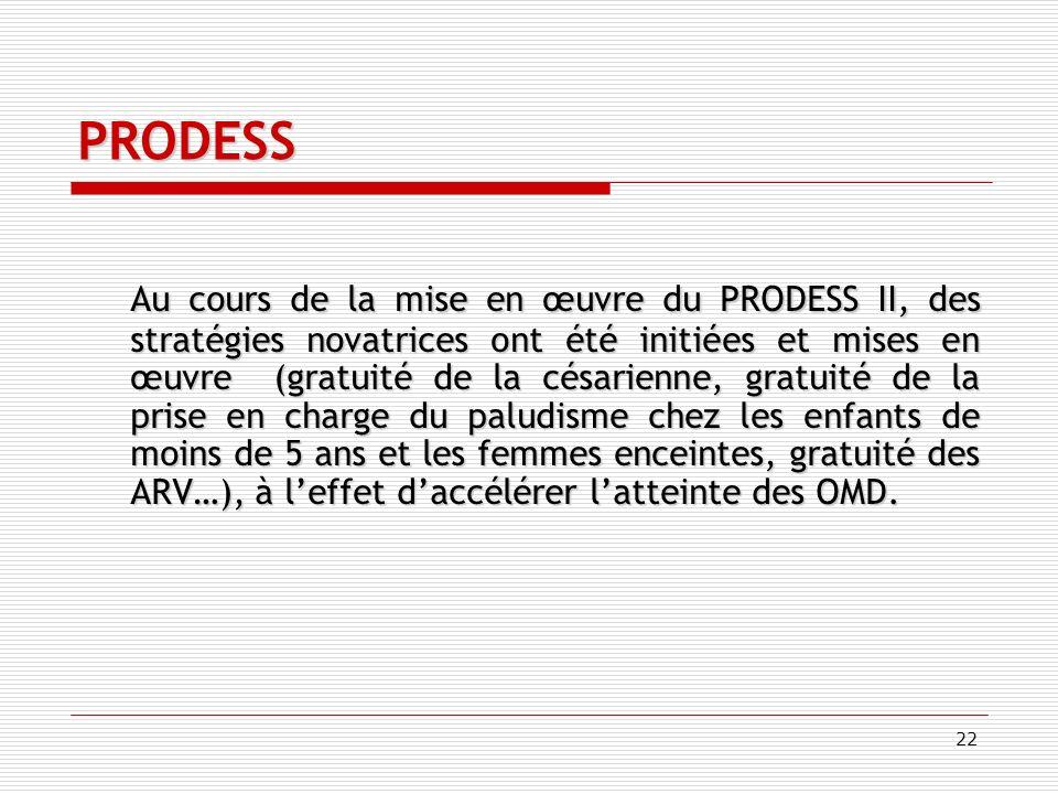 22 PRODESS Au cours de la mise en œuvre du PRODESS II, des stratégies novatrices ont été initiées et mises en œuvre (gratuité de la césarienne, gratuité de la prise en charge du paludisme chez les enfants de moins de 5 ans et les femmes enceintes, gratuité des ARV…), à leffet daccélérer latteinte des OMD.