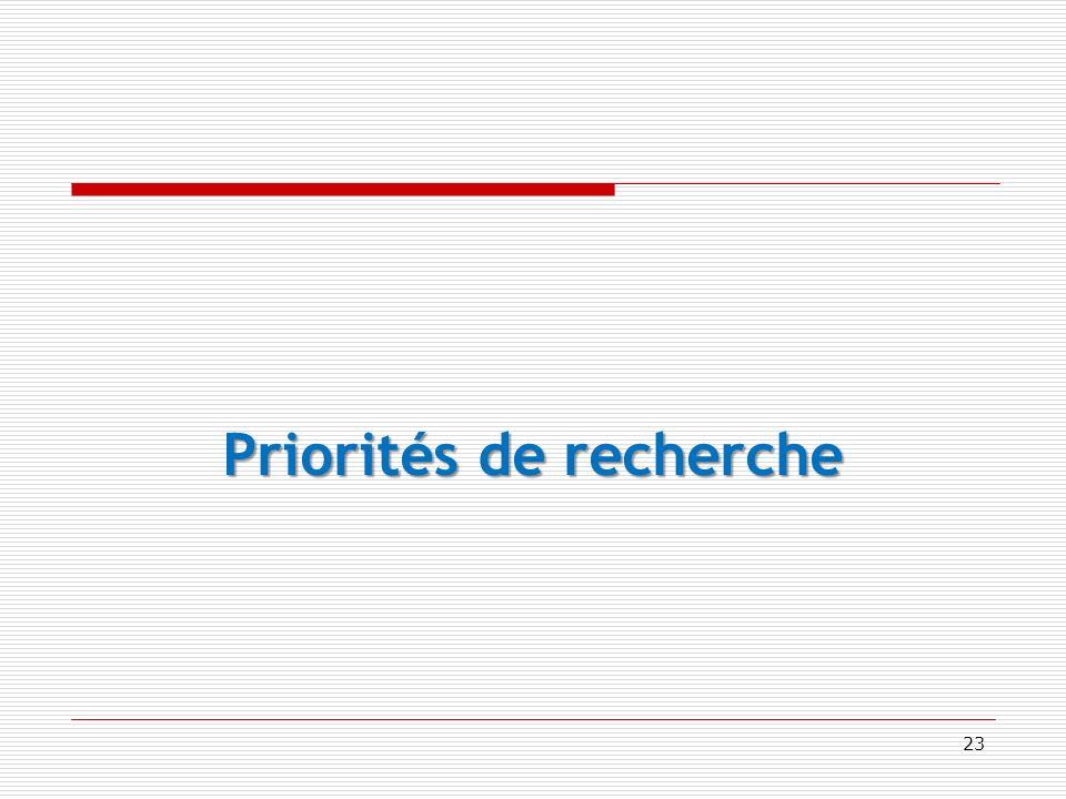 Priorités de recherche 23