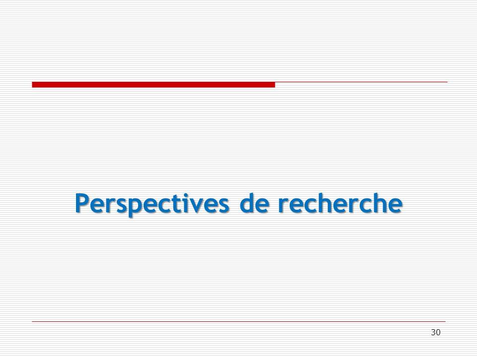 Perspectives de recherche 30