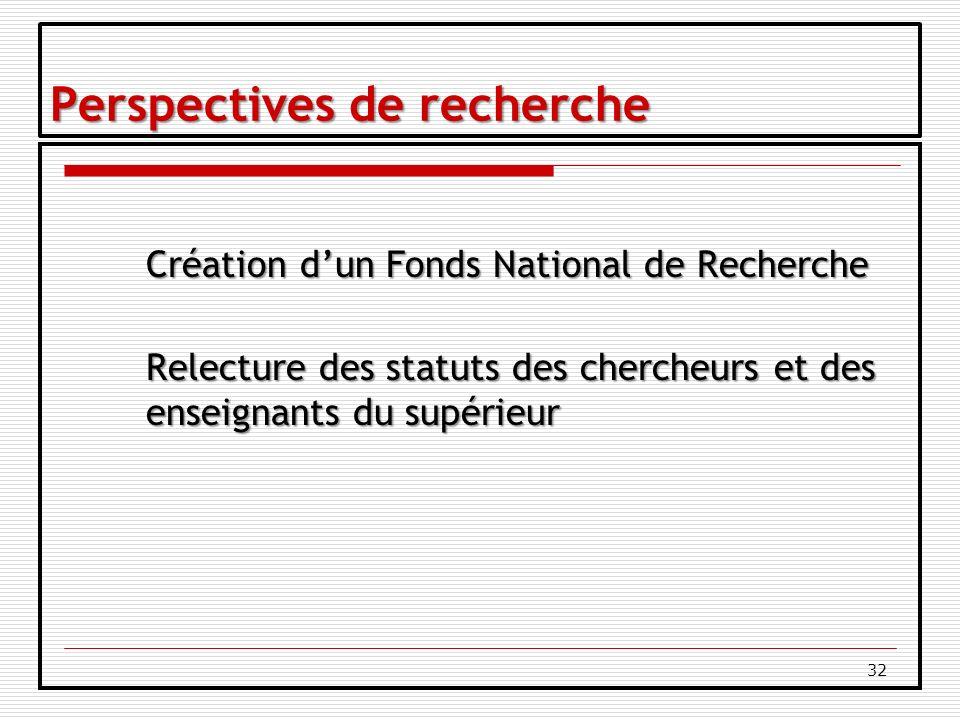 32 Perspectives de recherche Création dun Fonds National de Recherche Relecture des statuts des chercheurs et des enseignants du supérieur