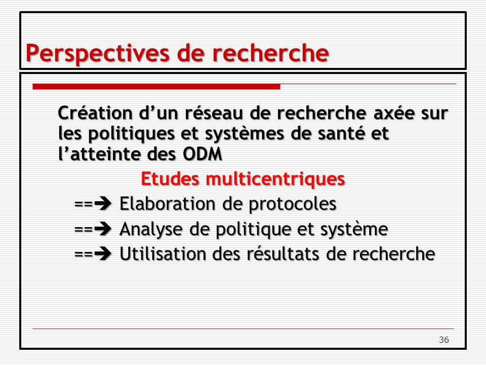 36 Perspectives de recherche Création dun réseau de recherche axée sur les politiques et systèmes de santé et latteinte des ODM Etudes multicentriques == Elaboration de protocoles == Analyse de politique et système == Utilisation des résultats de recherche