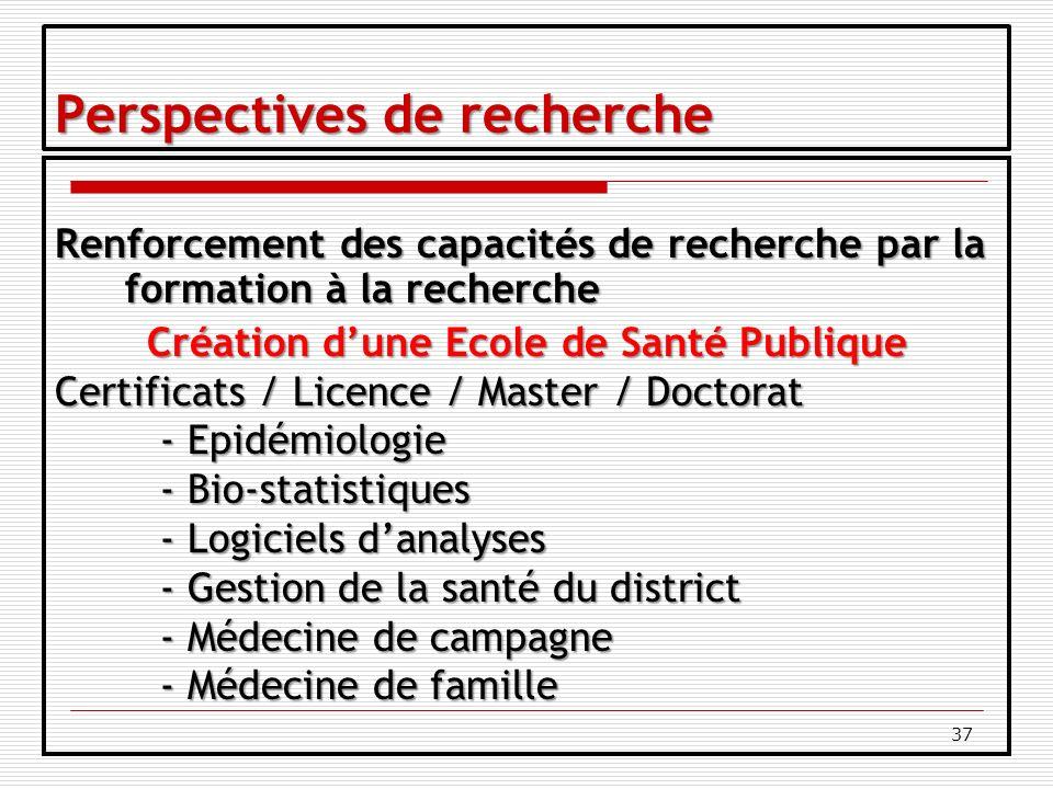 37 Perspectives de recherche Renforcement des capacités de recherche par la formation à la recherche Création dune Ecole de Santé Publique Certificats / Licence / Master / Doctorat - Epidémiologie - Bio-statistiques - Logiciels danalyses - Gestion de la santé du district - Médecine de campagne - Médecine de famille