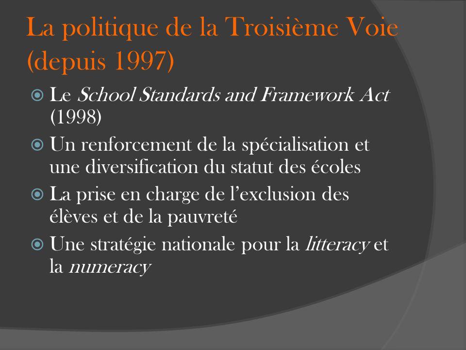 La politique de la Troisième Voie (depuis 1997) Le School Standards and Framework Act (1998) Un renforcement de la spécialisation et une diversificati