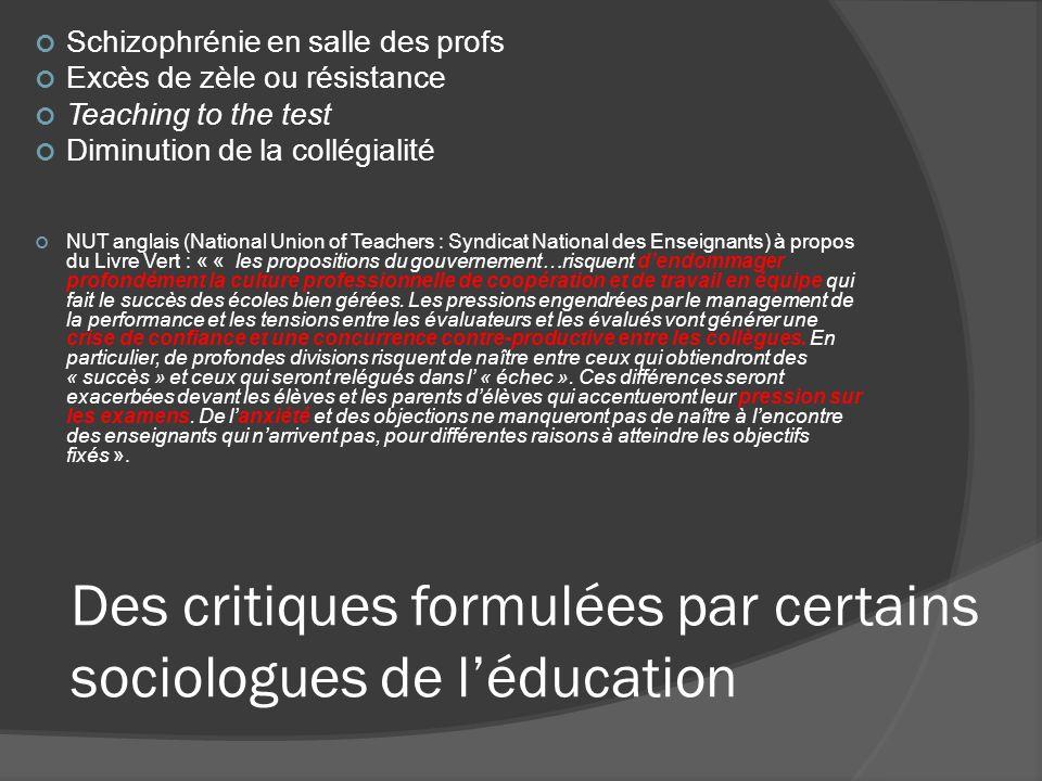 Des critiques formulées par certains sociologues de léducation Schizophrénie en salle des profs Excès de zèle ou résistance Teaching to the test Dimin