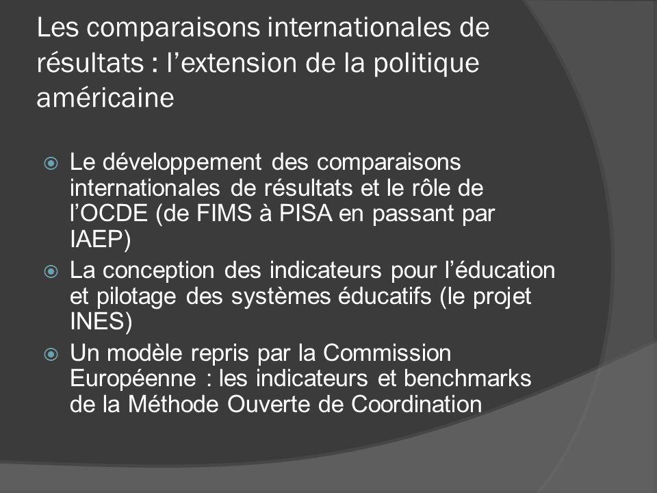 Les comparaisons internationales de résultats : lextension de la politique américaine Le développement des comparaisons internationales de résultats e