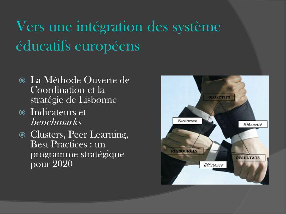 Vers une intégration des système éducatifs européens La Méthode Ouverte de Coordination et la stratégie de Lisbonne Indicateurs et benchmarks Clusters