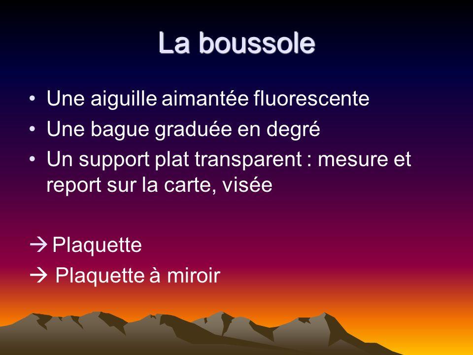 La boussole Une aiguille aimantée fluorescente Une bague graduée en degré Un support plat transparent : mesure et report sur la carte, visée Plaquette