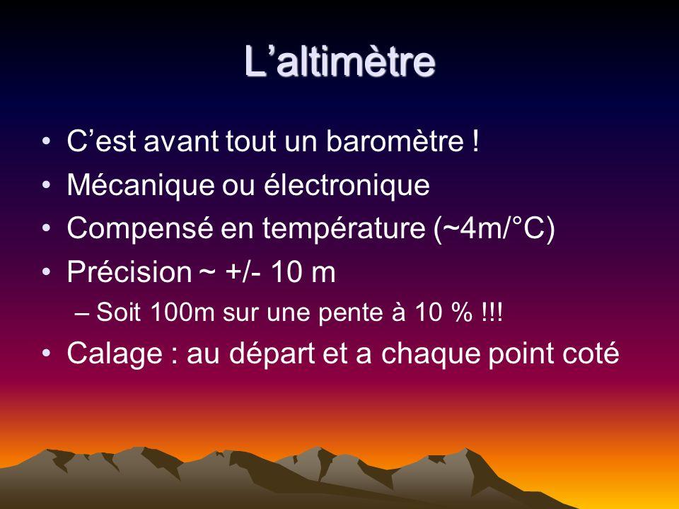 Laltimètre Cest avant tout un baromètre ! Mécanique ou électronique Compensé en température (~4m/°C) Précision ~ +/- 10 m –Soit 100m sur une pente à 1
