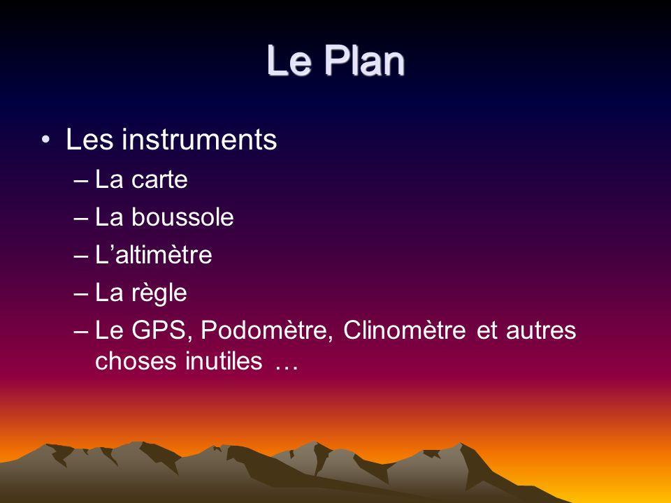 Le Plan Les instruments –La carte –La boussole –Laltimètre –La règle –Le GPS, Podomètre, Clinomètre et autres choses inutiles …