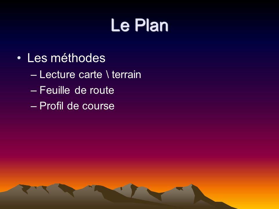 Le Plan La pratique –Faire le point –Déplacement à la boussole –Déplacement à laltimètre –La tangente à la courbe –Lerreur volontaire –Estimation des distances –Les pièges