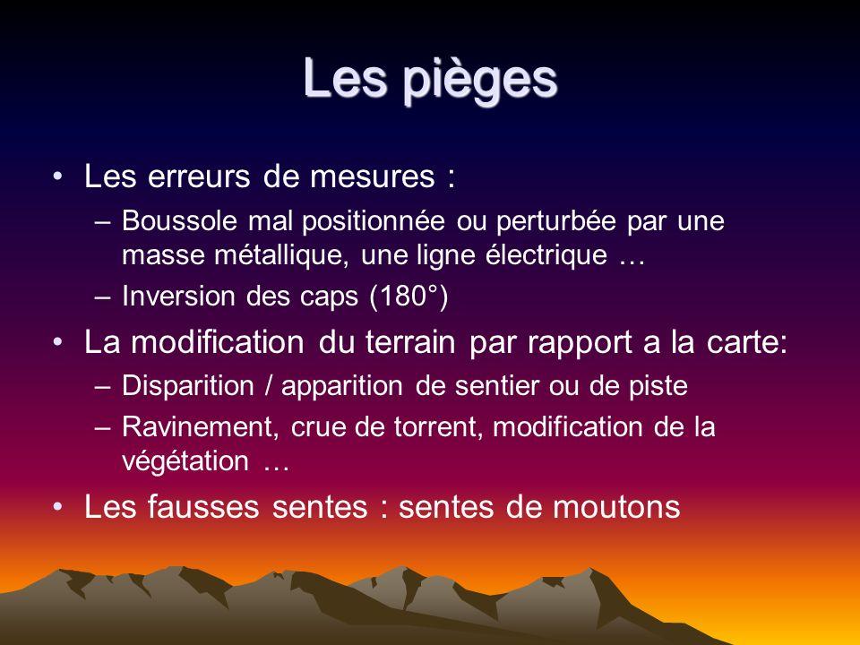 Les pièges Les erreurs de mesures : –Boussole mal positionnée ou perturbée par une masse métallique, une ligne électrique … –Inversion des caps (180°)