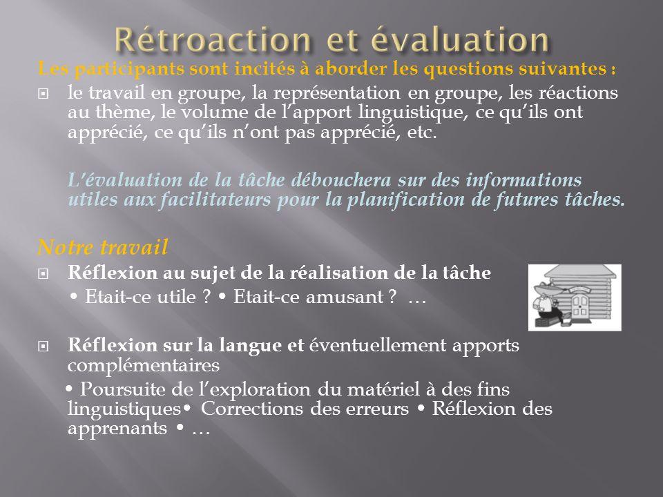 Les participants sont incités à aborder les questions suivantes : le travail en groupe, la représentation en groupe, les réactions au thème, le volume