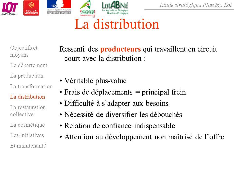 Étude stratégique Plan bio Lot La distribution Ressenti des producteurs qui travaillent en circuit court avec la distribution : Véritable plus-value F