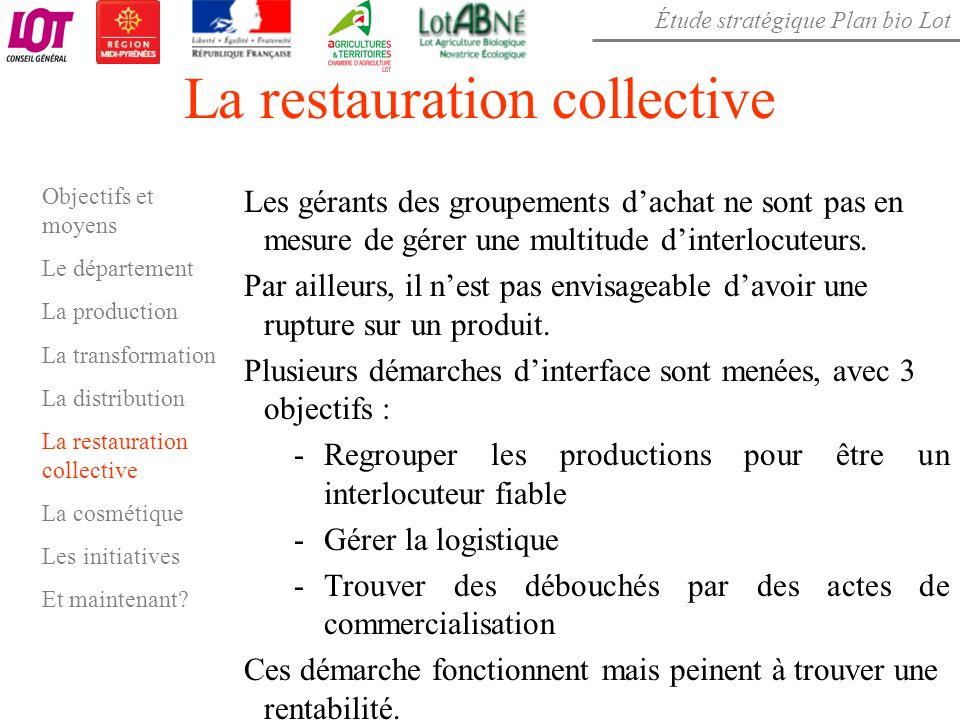 Étude stratégique Plan bio Lot La restauration collective Les gérants des groupements dachat ne sont pas en mesure de gérer une multitude dinterlocute