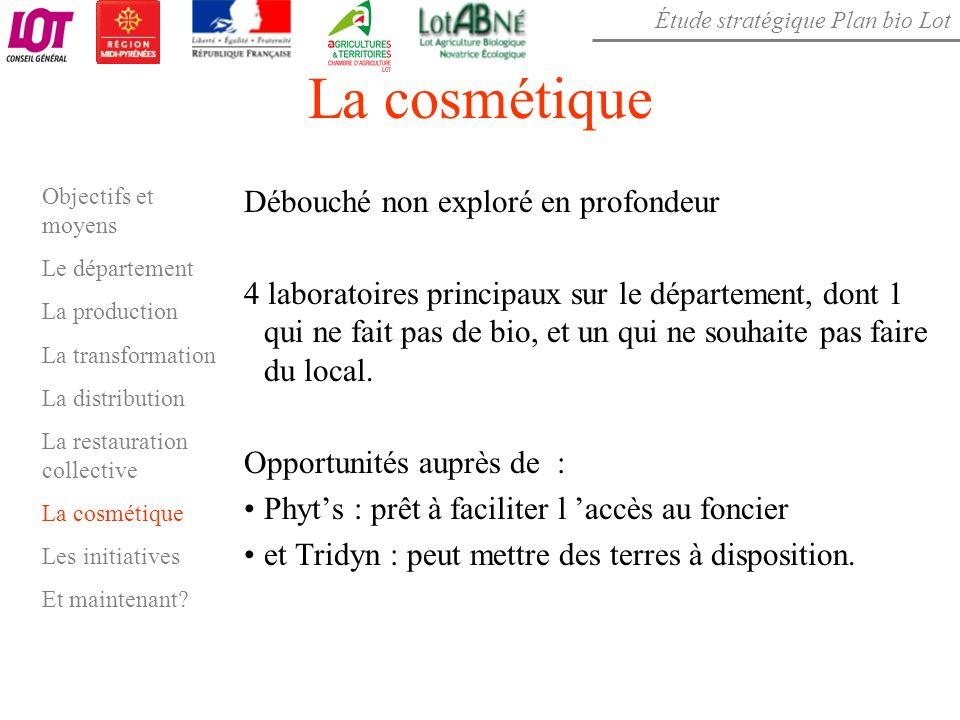 Étude stratégique Plan bio Lot La cosmétique Débouché non exploré en profondeur 4 laboratoires principaux sur le département, dont 1 qui ne fait pas d