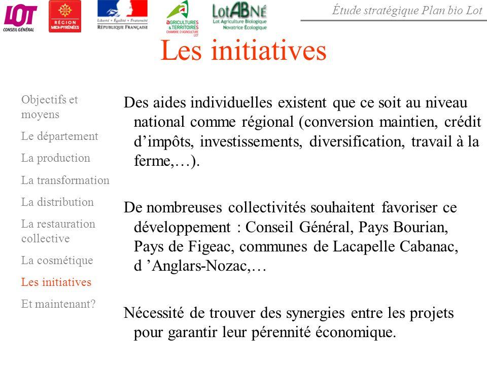 Étude stratégique Plan bio Lot Les initiatives Des aides individuelles existent que ce soit au niveau national comme régional (conversion maintien, cr