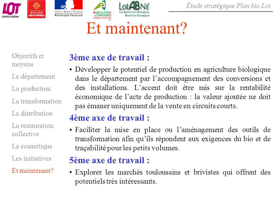 Étude stratégique Plan bio Lot Et maintenant? 3ème axe de travail : Développer le potentiel de production en agriculture biologique dans le départemen