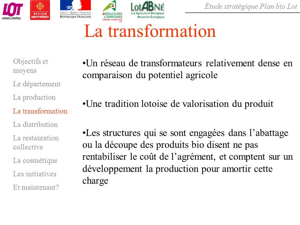 Étude stratégique Plan bio Lot La transformation Objectifs et moyens Le département La production La transformation La distribution La restauration co