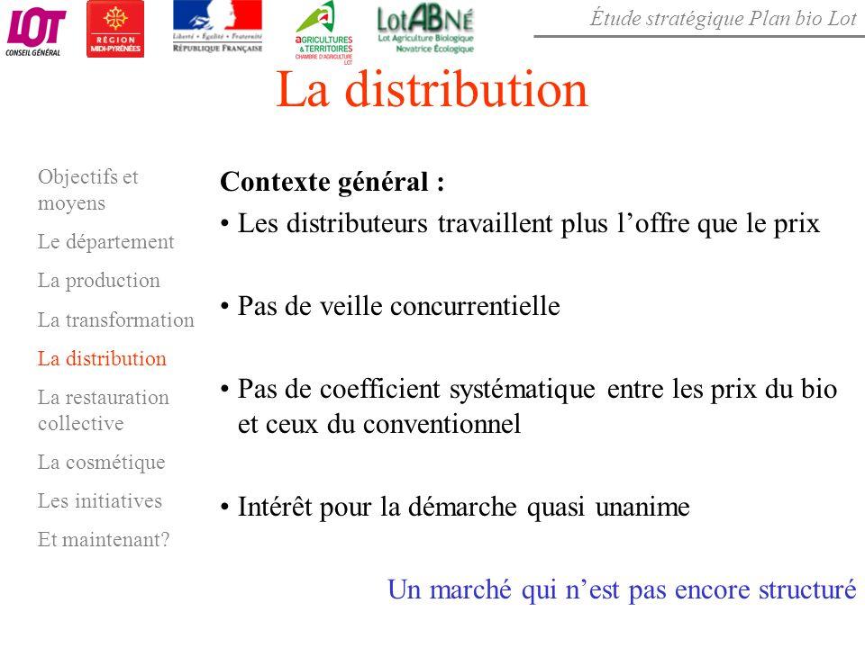 Étude stratégique Plan bio Lot La distribution Contexte général : Les distributeurs travaillent plus loffre que le prix Pas de veille concurrentielle