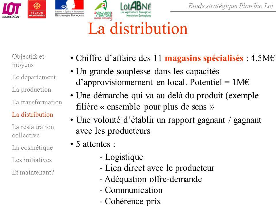 Étude stratégique Plan bio Lot La distribution Chiffre daffaire des 11 magasins spécialisés : 4.5M Un grande souplesse dans les capacités dapprovision