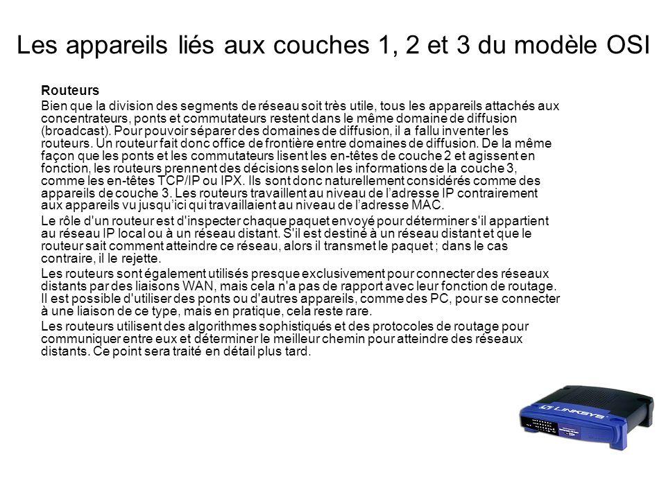 Les appareils liés aux couches 1, 2 et 3 du modèle OSI Routeurs Bien que la division des segments de réseau soit très utile, tous les appareils attachés aux concentrateurs, ponts et commutateurs restent dans le même domaine de diffusion (broadcast).