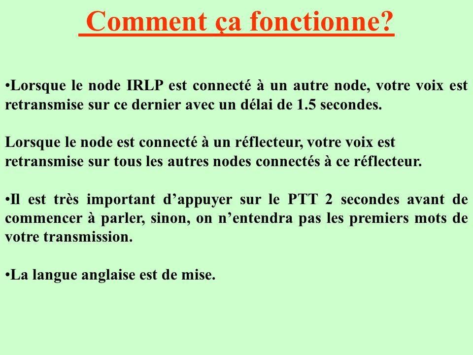 Comment ça fonctionne? Lorsque le node IRLP est connecté à un autre node, votre voix est retransmise sur ce dernier avec un délai de 1.5 secondes. Lor