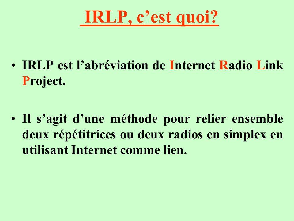IRLP, cest quoi? IRLP est labréviation de Internet Radio Link Project. Il sagit dune méthode pour relier ensemble deux répétitrices ou deux radios en