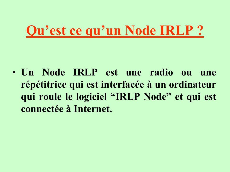 Quest ce quun Node IRLP ? Un Node IRLP est une radio ou une répétitrice qui est interfacée à un ordinateur qui roule le logiciel IRLP Node et qui est