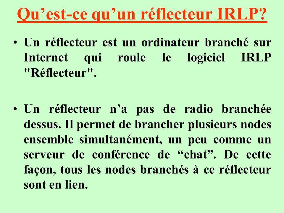 Quest-ce quun réflecteur IRLP? Un réflecteur est un ordinateur branché sur Internet qui roule le logiciel IRLP