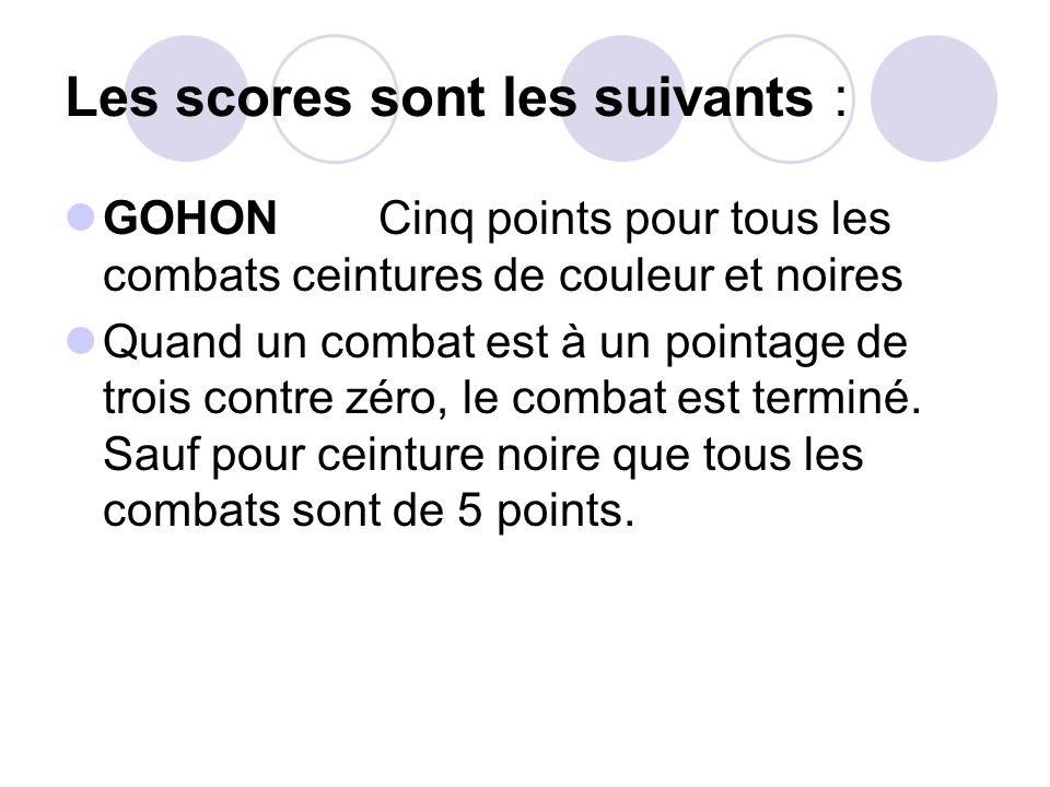 Les scores sont les suivants : GOHON Cinq points pour tous les combats ceintures de couleur et noires Quand un combat est à un pointage de trois contr