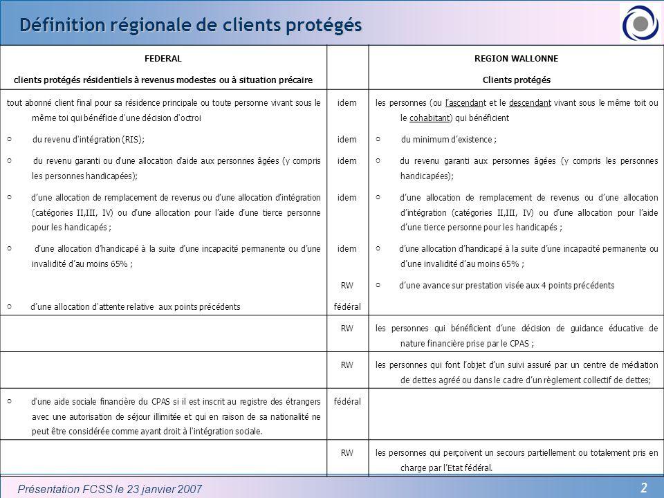 2 Présentation FCSS le 23 janvier 2007 Définition régionale de clients protégés FEDERAL REGION WALLONNE clients protégés résidentiels à revenus modest