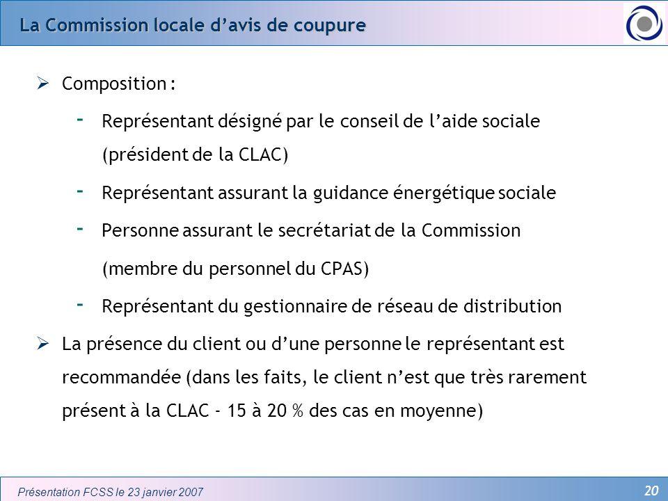20 Présentation FCSS le 23 janvier 2007 La Commission locale davis de coupure Composition : - Représentant désigné par le conseil de laide sociale (pr