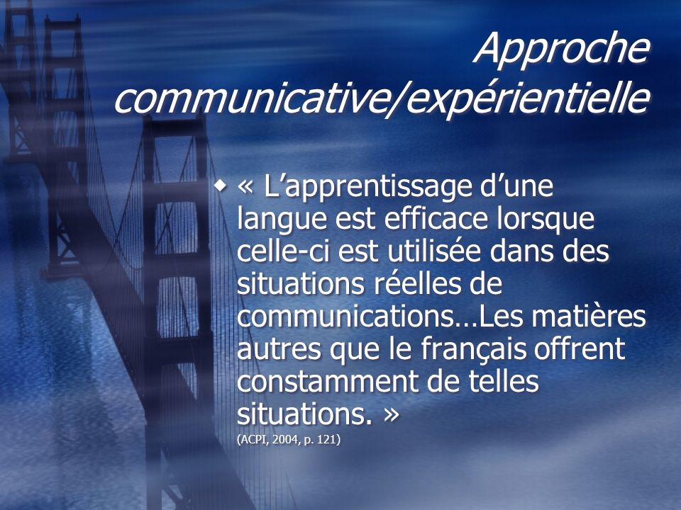 Approche communicative/expérientielle « Lapprentissage dune langue est efficace lorsque celle-ci est utilisée dans des situations réelles de communica