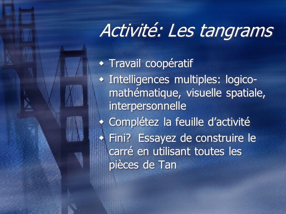 Activité: Les tangrams Travail coopératif Intelligences multiples: logico- mathématique, visuelle spatiale, interpersonnelle Complétez la feuille dact