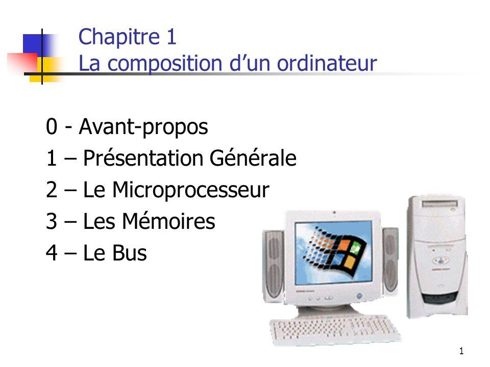 1 Chapitre 1 La composition dun ordinateur 0 - Avant-propos 1 – Présentation Générale 2 – Le Microprocesseur 3 – Les Mémoires 4 – Le Bus