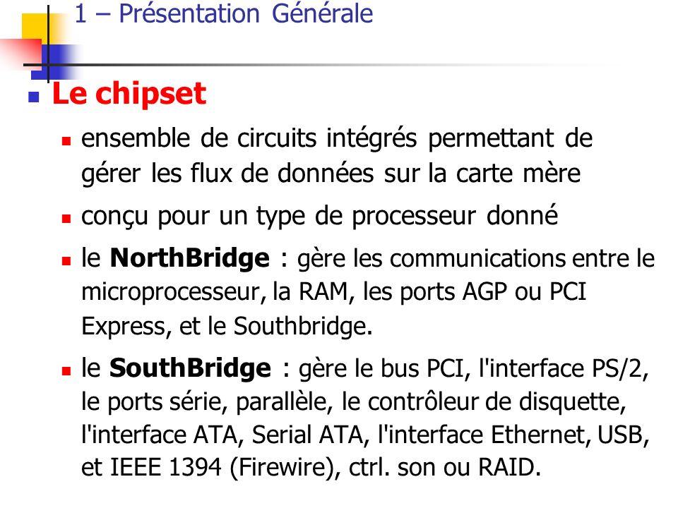 1 – Présentation Générale Le chipset ensemble de circuits intégrés permettant de gérer les flux de données sur la carte mère conçu pour un type de processeur donné le NorthBridge : gère les communications entre le microprocesseur, la RAM, les ports AGP ou PCI Express, et le Southbridge.
