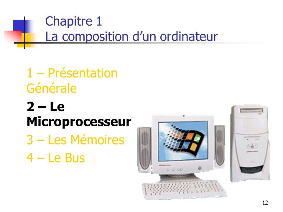 12 Chapitre 1 La composition dun ordinateur 1 – Présentation Générale 2 – Le Microprocesseur 3 – Les Mémoires 4 – Le Bus