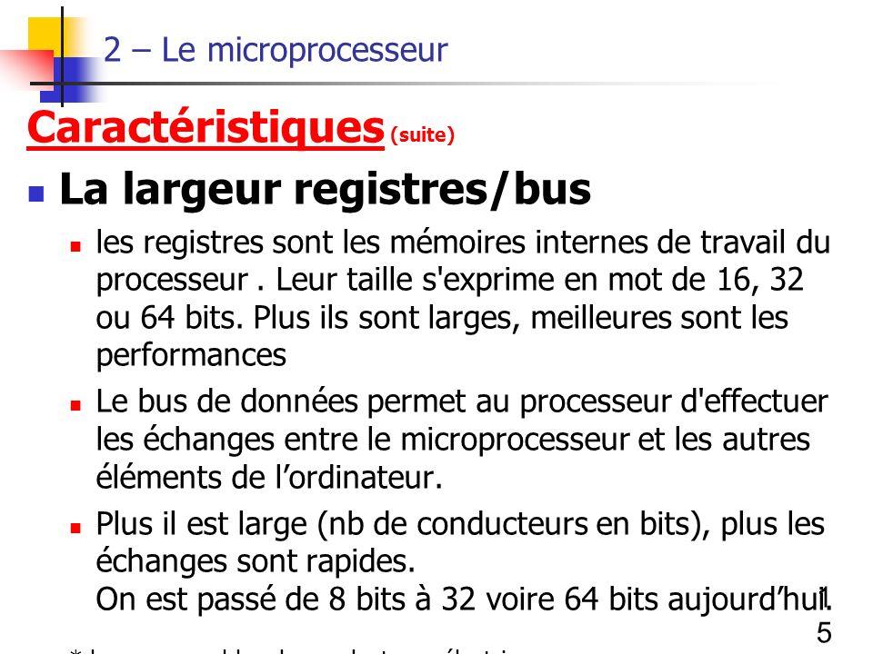 15 2 – Le microprocesseur Caractéristiques (suite) La largeur registres/bus les registres sont les mémoires internes de travail du processeur.