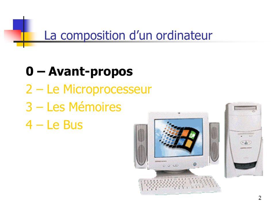 2 La composition dun ordinateur 0 – Avant-propos 2 – Le Microprocesseur 3 – Les Mémoires 4 – Le Bus