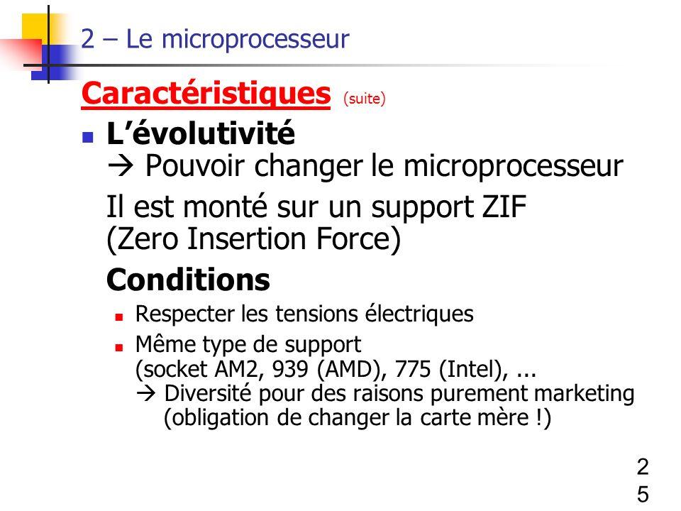 25 2 – Le microprocesseur Caractéristiques (suite) Lévolutivité Pouvoir changer le microprocesseur Il est monté sur un support ZIF (Zero Insertion Force) Conditions Respecter les tensions électriques Même type de support (socket AM2, 939 (AMD), 775 (Intel),...