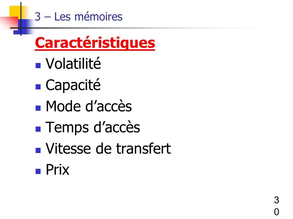 30 3 – Les mémoires Caractéristiques Volatilité Capacité Mode daccès Temps daccès Vitesse de transfert Prix