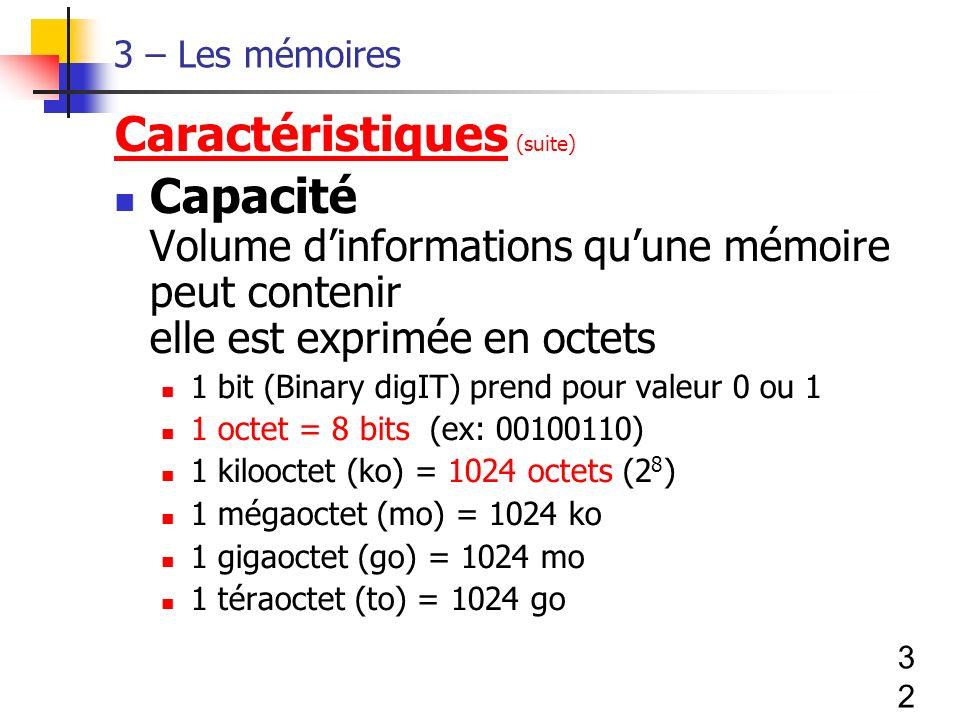 32 3 – Les mémoires Caractéristiques (suite) Capacité Volume dinformations quune mémoire peut contenir elle est exprimée en octets 1 bit (Binary digIT) prend pour valeur 0 ou 1 1 octet = 8 bits (ex: 00100110) 1 kilooctet (ko) = 1024 octets (2 8 ) 1 mégaoctet (mo) = 1024 ko 1 gigaoctet (go) = 1024 mo 1 téraoctet (to) = 1024 go
