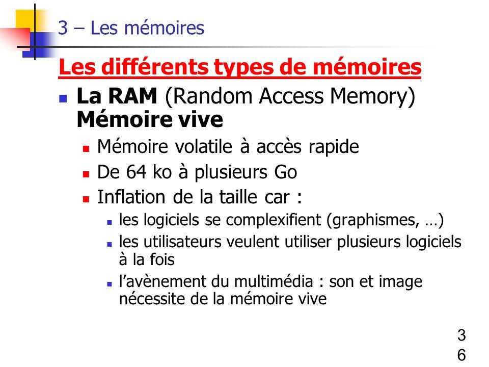 36 3 – Les mémoires Les différents types de mémoires La RAM (Random Access Memory) Mémoire vive Mémoire volatile à accès rapide De 64 ko à plusieurs Go Inflation de la taille car : les logiciels se complexifient (graphismes, …) les utilisateurs veulent utiliser plusieurs logiciels à la fois lavènement du multimédia : son et image nécessite de la mémoire vive